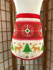 New listing Cute vtg 70's Apron Christmas Quilted Red & White Half Apron Fair Isle Reindeer