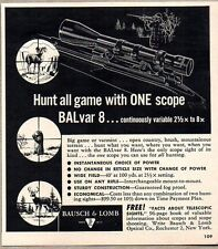 1960 Print Ad BALvar Hunting Rifle Scopes Bausch & Lomb Rochester,NY
