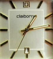 Claiborne Date Glo Hands Brown Leather Band Quartz New Battery Runs Woman Watch