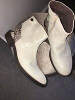 Miss Grant Made In Italy Cowboy Boot Glittler Sparkle Snakeskin 33 New