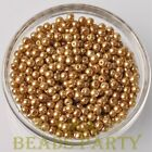 New 100pcs 4mm Round Glass Pearl Loose Spacer Beads Bulk Jewelry Making Gold