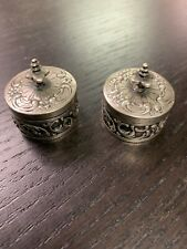 Antique PAIR Sterling Silver Repousse Round Cream/ Pill Boxes