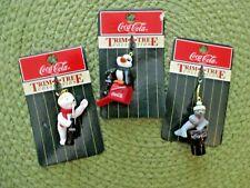 3 Vintage Coca-Cola Trim-A-Tree Miniature Ornaments 1998 Polar Bear Seal Penguin
