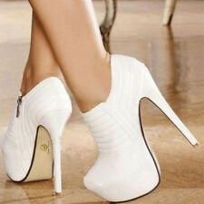 Fashion Women Ankle Boots Round Toe Thin High Heels Boots White Shoes Woman