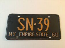 Very Good Vintage 1960 New York State License Plate - Low Number ( SN-39 )