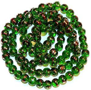 """G2333 Dark Green 8mm Round Metallic Drawbench Swirl Glass Beads 32"""""""