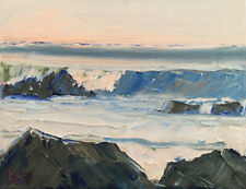 WINTER WARMTH Original Expression Art Seascape Ocean Painting 9x12 061720 KEN