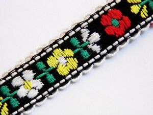 black with multi coloured flowers vintage jacquard woven 15mm R045