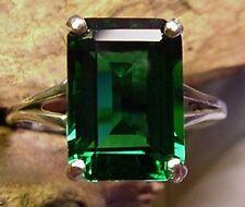 Mt St Helens Helenite 14x10mm Emerald Cut Ring sz 7 7.5 8 8.5 9 sterling silver