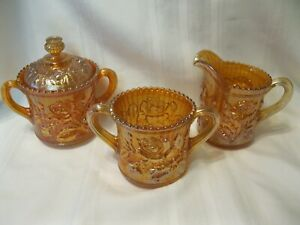 Imperial Carnival Glass Lustre Rose Marigold Creamer, Sugar, Spooner Set