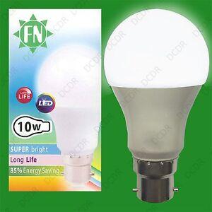 50x 10W A60 GLS BC B22 6500K Tageslicht Weiß Perle LED Glühbirnen Lampe 110-265V
