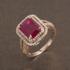 Ladies 4.63ct Sparkly Blood Ruby Diamond Solid 14K Rose Gold Wedding Fine Ring