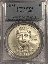 2009-P Louis Braille Silver Dollar Commemorative PCGS MS-70