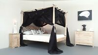CANOPY DELUXE Muslin Mosquito Net for Four Poster Bed BLACK King,Queen