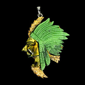 Handmade Carvings Ruby Zoisite Gems 925 Sterling Silver Native American Pendant