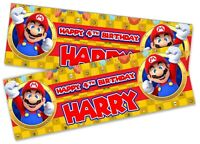 x2 Personalised Birthday Banner Super Mario Children Kids Party Decoration 10