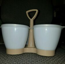 Tupperware 757 Vtg Condiment Caddy Container Sheer Lid Almond Keeper Trio Bowls