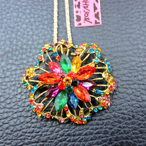 Multi-Color Charm Flower Crystal Betsey Johnson Pendant Sweater Necklace/Brooch