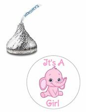 108 ITS A GIRL ELEPHANT BABY SHOWER HERSHEY KISS KISSES CANDY STICKERS **