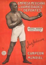 JACK JOHNSON WORLD CHAMPION, 1910, 250gsm Spanish Boxing Vintage Sports Poster