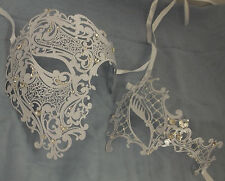 White Crystal Phantom Men Woman Venetian  Masquerade Metal Couple Mask Masks Set