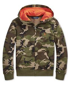 Polo Ralph Lauren Boys Camouflage Full Zip Hoodie Sweatshirt Green XL 0902