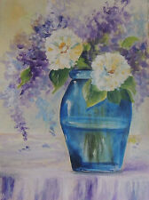 Blue vase of white and purple flowers 8 x 10 print of original acrylic painting