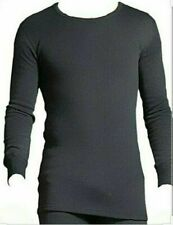 MEN'S THERMAL LONG SLEEVE T-SHIRT GREY BRUSHED POLYCOTTON RIBBED CREW SIZE LARGE