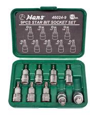 """HANSTOOLS 1/2"""" TORX Einsätze T20 - T60 9-teilig in Kunststoffbox L=55mm"""
