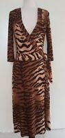 COOPER ST Browns/Black Animal Print Stretch Wrap Dress Size 8