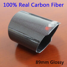 Universal Outlet 89mm Car Exhaust Muffler Tip Cover Glossy Real Carbon Fiber