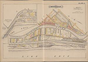 1891 BUFFALO RIVER NY MIAMI ST - CITY SLIP CANAL,LAKE ERIE LIGHT HOUSE ATLAS MAP