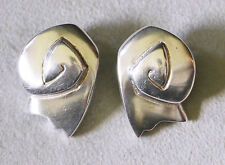 Stephanie DePalo signed, sterling silver designer modernist abstract earrings