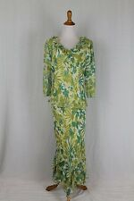 Vtg ADRIANNA PAPELL Lillie Rubin Long Ruffled Silk 1920's style Gatsby Dress 14