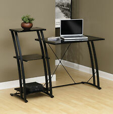 Sauder Deco Office Computer Desk Workstation Table w/ Tiered Glass Top in Black