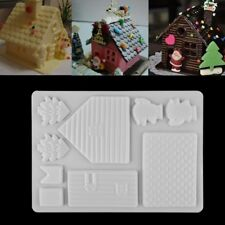 Christmas House Fondant Mold Cake Decorating Candy Chocolate Baking Mould Tool