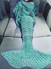 US Green Mermaid Tail Blanket Crocheted Knitted Mermaid Tail Blanket For Adult