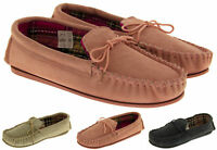 Ladies Lodgemok SUEDE LEATHER Moccasins Tartan Plaid Slippers Size 3 4 5 6 7 8