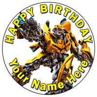 "TRANSFORMERS BUMBLEBEE PARTY - 7.5"" PERSONALISED ROUND EDIBLE ICING CAKE TOPPER"