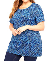 Women's 5X 34/36 Easy Fit Tee T-Shirt Blue Top Catherine's Bust 70 Tunic Lgth 34