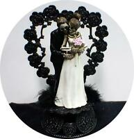 Day of the DEAD Halloween Wedding Cake Topper Funny Skeleton Bride Groom topHear