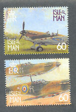 Isle of Man-Spitfires-mnh-Battle of Britain-World War II Aviation(2 stamps)