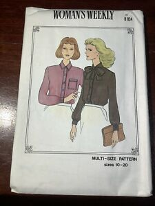New Vintage WOMAN'S WEEKLY Misses Blouse Shirt Pattern B834 Size 10-20