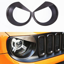 2Pcs Black Angry Bird Headlight Cover Bezels Trim For Jeep Renegade 2015-2018