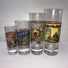 "Set of 4 Graduated Cocktail Highball Glasses ""Spirits"" By V. Van Gogh Bar Ware"