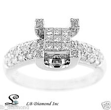 Diamond Ring 0.87ct, Princess Cut and Round Cut Diamonds 18k White Gold