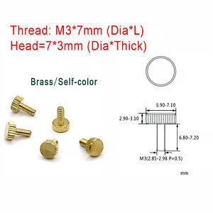 M3 M4 M5 Brass Cylinder Knurled Thumb Screws Ni-plated Brass Hand Grip Knob Bolt