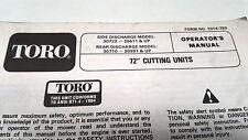 "1992  TORO 72"" CUTTING UNITS  Operators Manual"