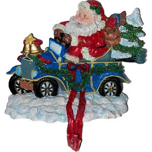 "Cast Iron Santa LaStraw Driving Christmas Stocking Holder Hanger Vintage 5.5"""