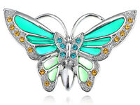 Vintage Blue Sea Green Enamel Painted Butterfly Rhinestone Pin Brooch Jewelry